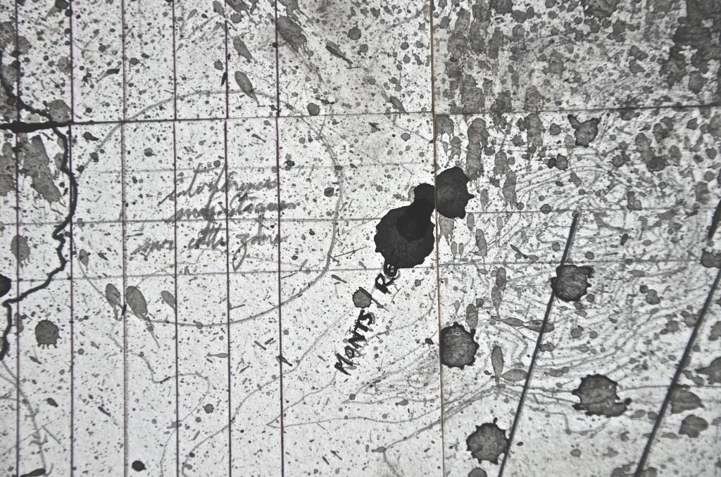 Cime de la colonne (Monts retors), avril 2016, encre et crayon sur papier, 96 x 96 cm