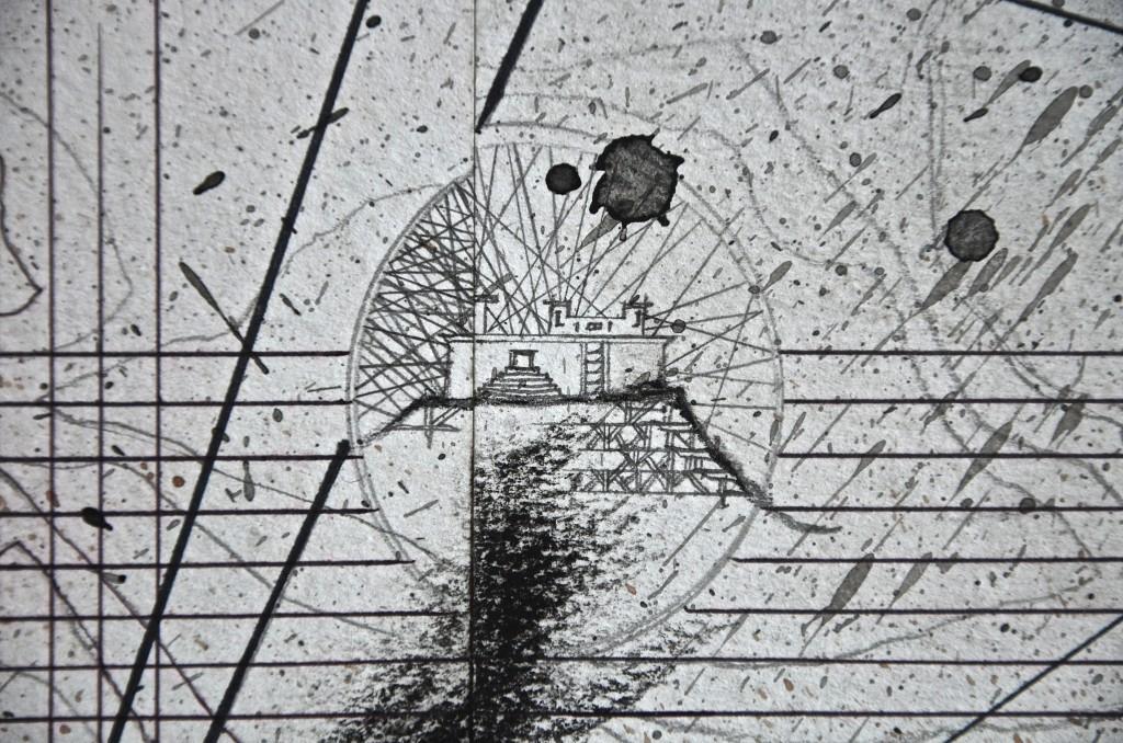 Cime de la colonne (fort), avril 2016, encre et crayon sur papier, 96 x 96 cm