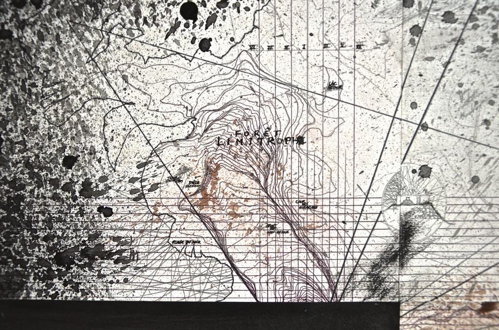 Cime de la colonne (massif), avril 2016, encre et crayon sur papier, 96 x 96 cm