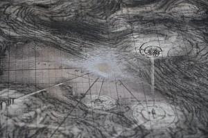 Les phares (contact) du Mont-Cenis, mai 2016, techniques mixtes sur carte topographique, 140 x 110 cm