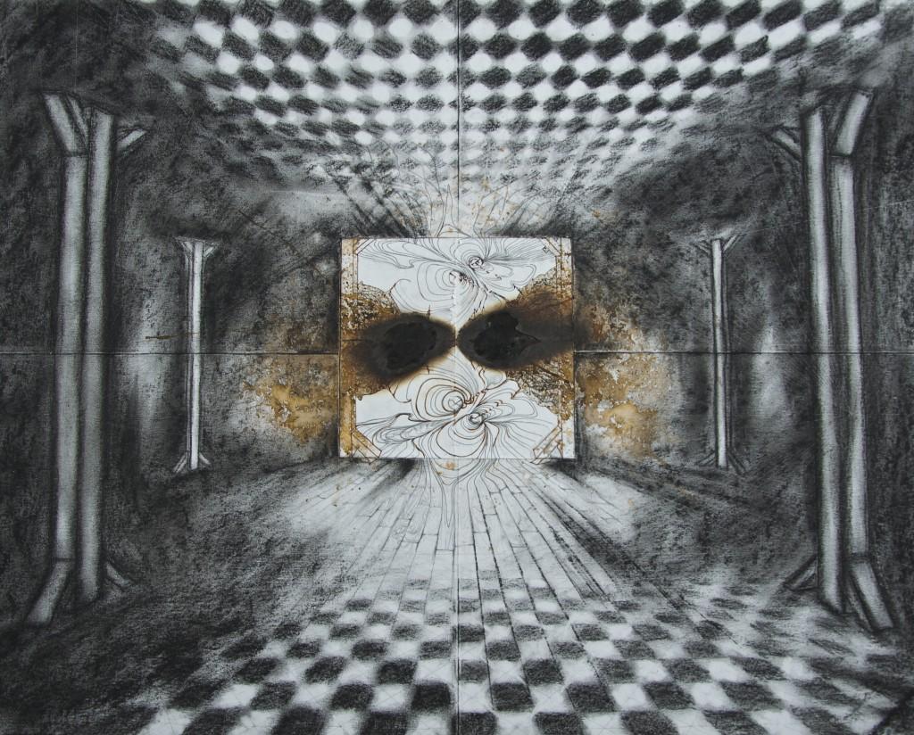 Les vivants piliers, juin 2016, techniques mixtes sur papier, 65 x 51 cm
