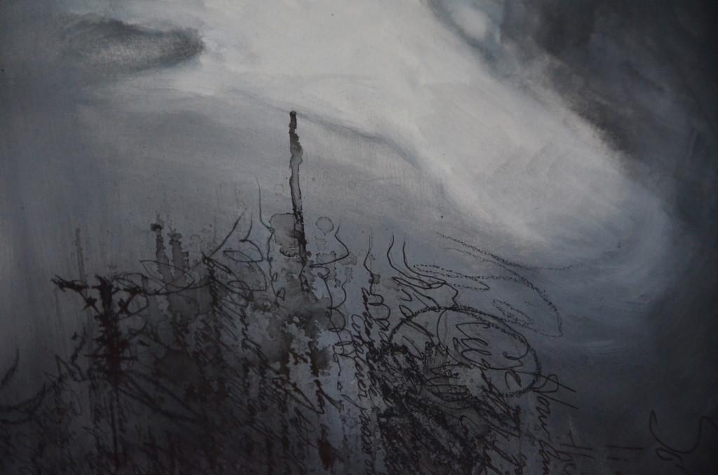 M.M. (détail écriture) & son carnet noir, janvier 2018, huile sur papier, 50x65
