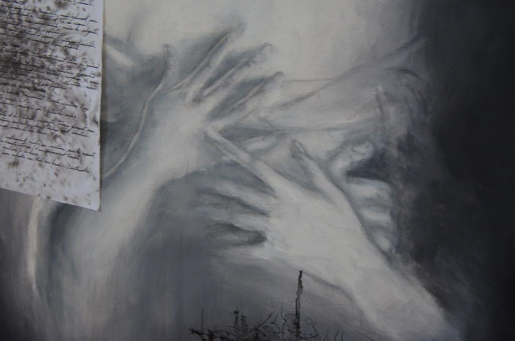 M.M. (détail mains) & son carnet noir, janvier 2018, huile sur papier, 50x65